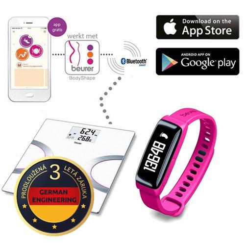 Beurer BF 710 osobní a diagnostická váha + Senzor aktivity BEURER AS 81 purpurový (růžový) -Výhodný SET